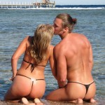 Man Woman Thong Kissing Beach