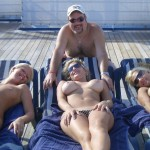 Topless Deck Three Blondes Lucky Guy
